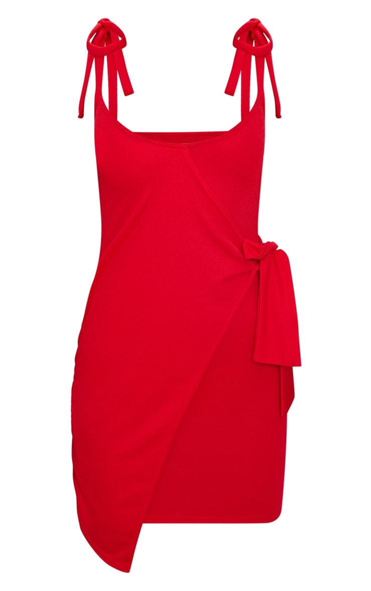 Red Tie Detail Strappy Wrap Bodycon Dress 3