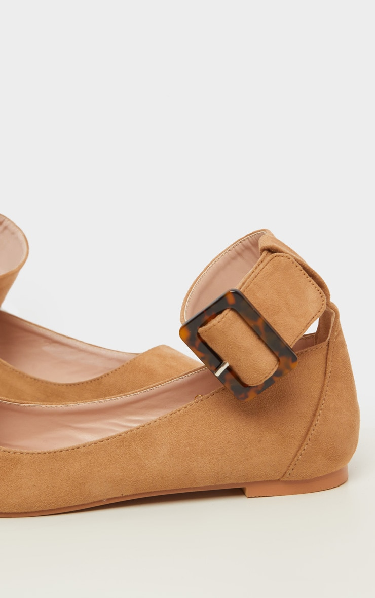 Tan Point Toe Ankle Cuff Ballet Shoes 4