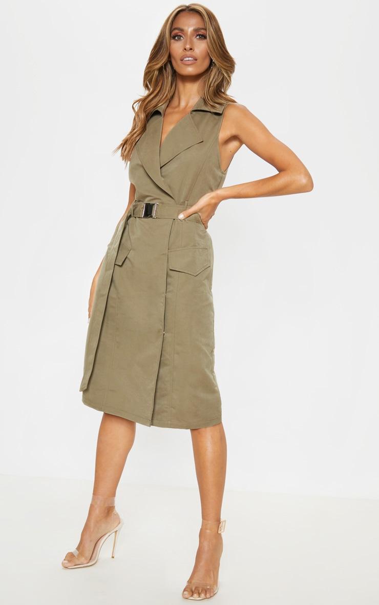 Khaki Buckle Trench Style Midaxi Dress 3