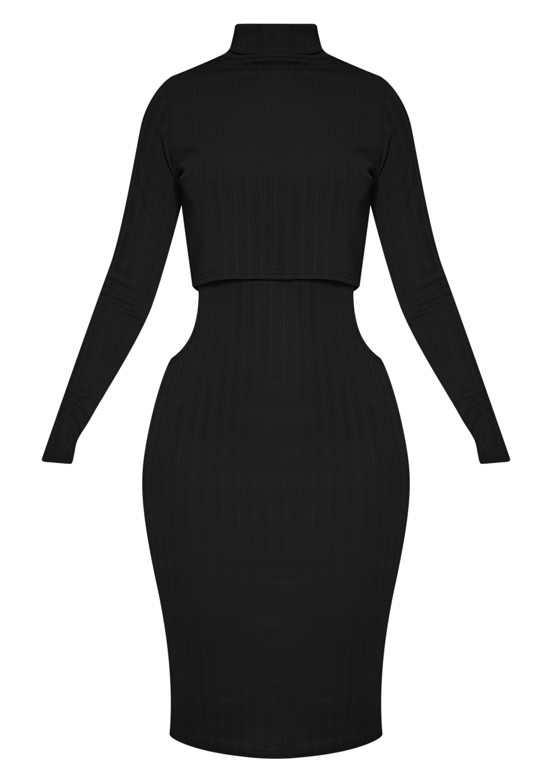 Alma Black Ribbed Cut Out Long Sleeve Midi Dress 3