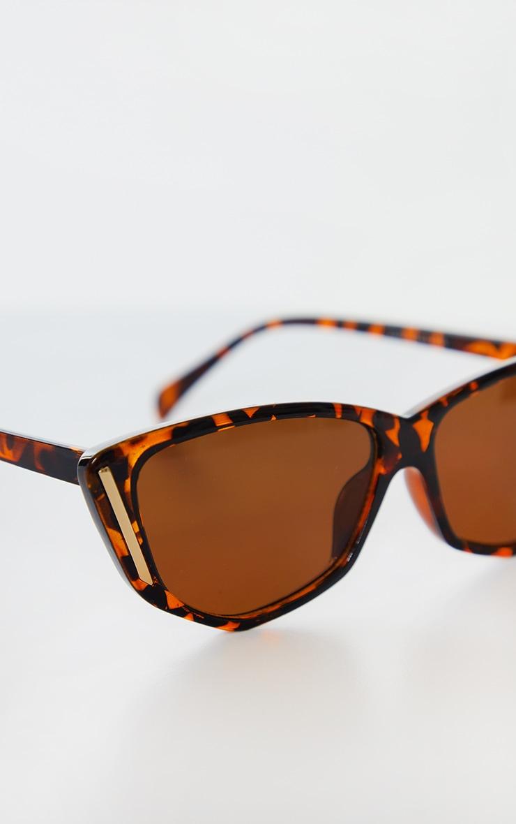 Brown Tortoise Cat Eye Gold Trim Sunglasses 3