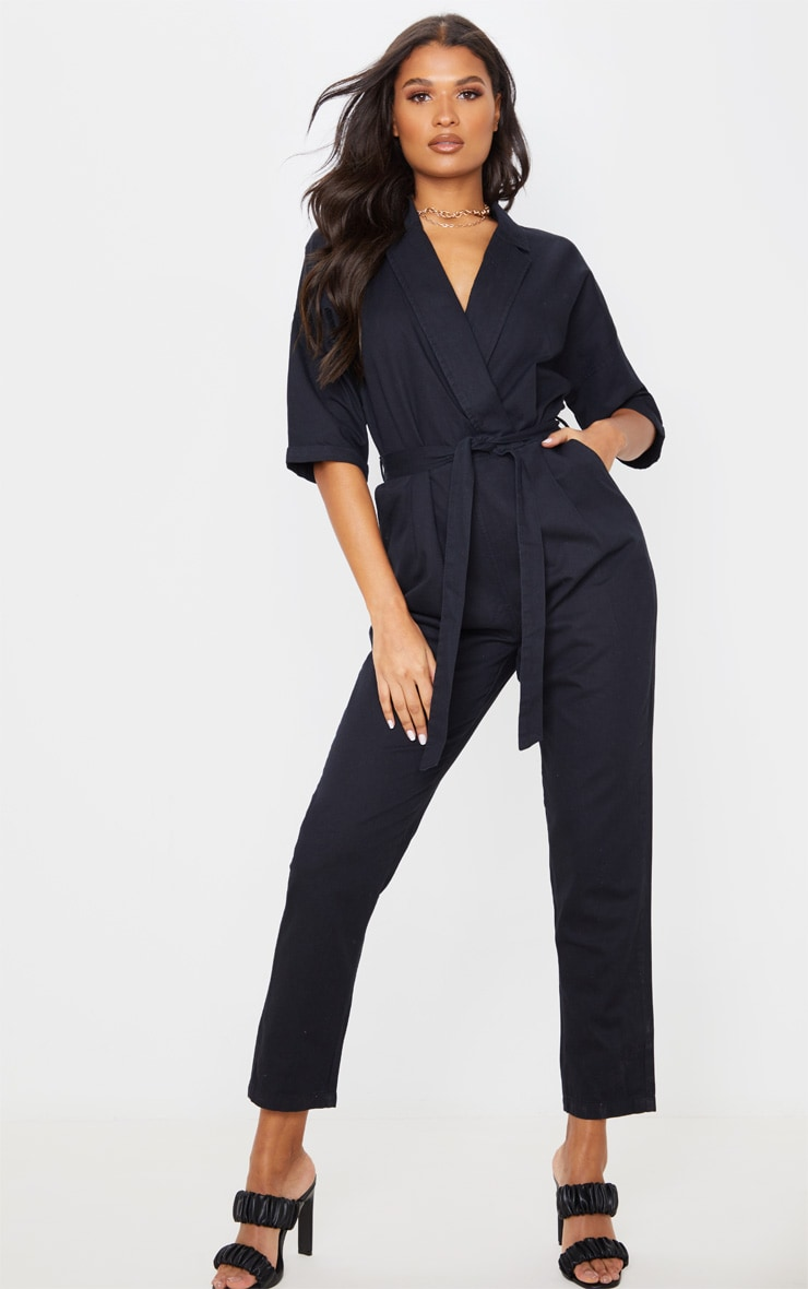 Black Denim Utility Jumpsuit 1