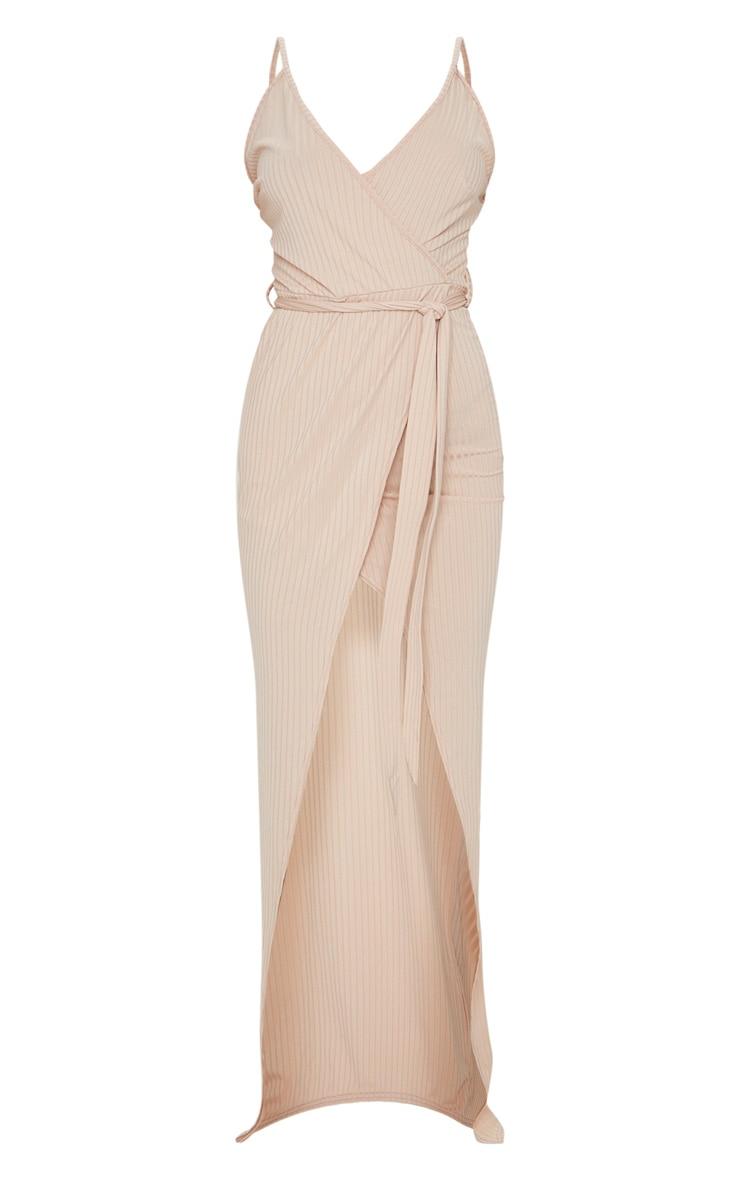 Stone Ribbed Wrap Maxi Dress 5