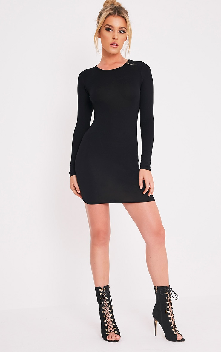 Amerie Black Jersey Long Sleeve Bodycon Dress 5