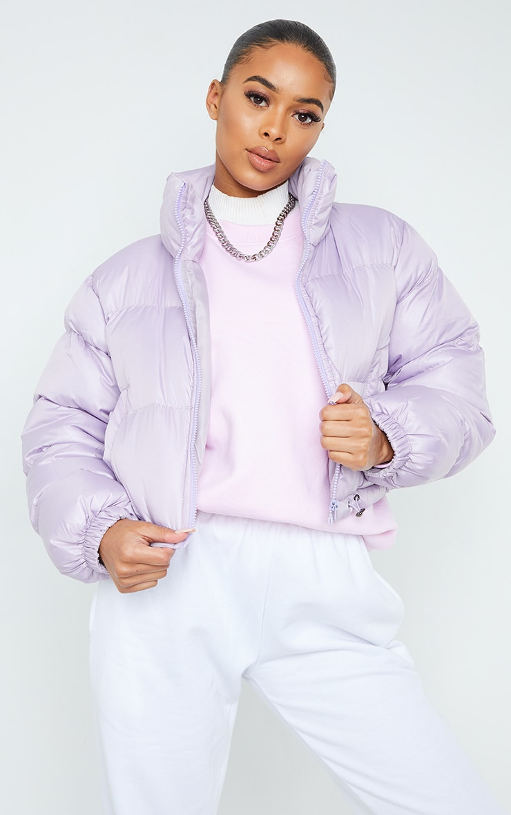 Dusty Lilac Nylon Toggle Hem Puffer Jacket 1