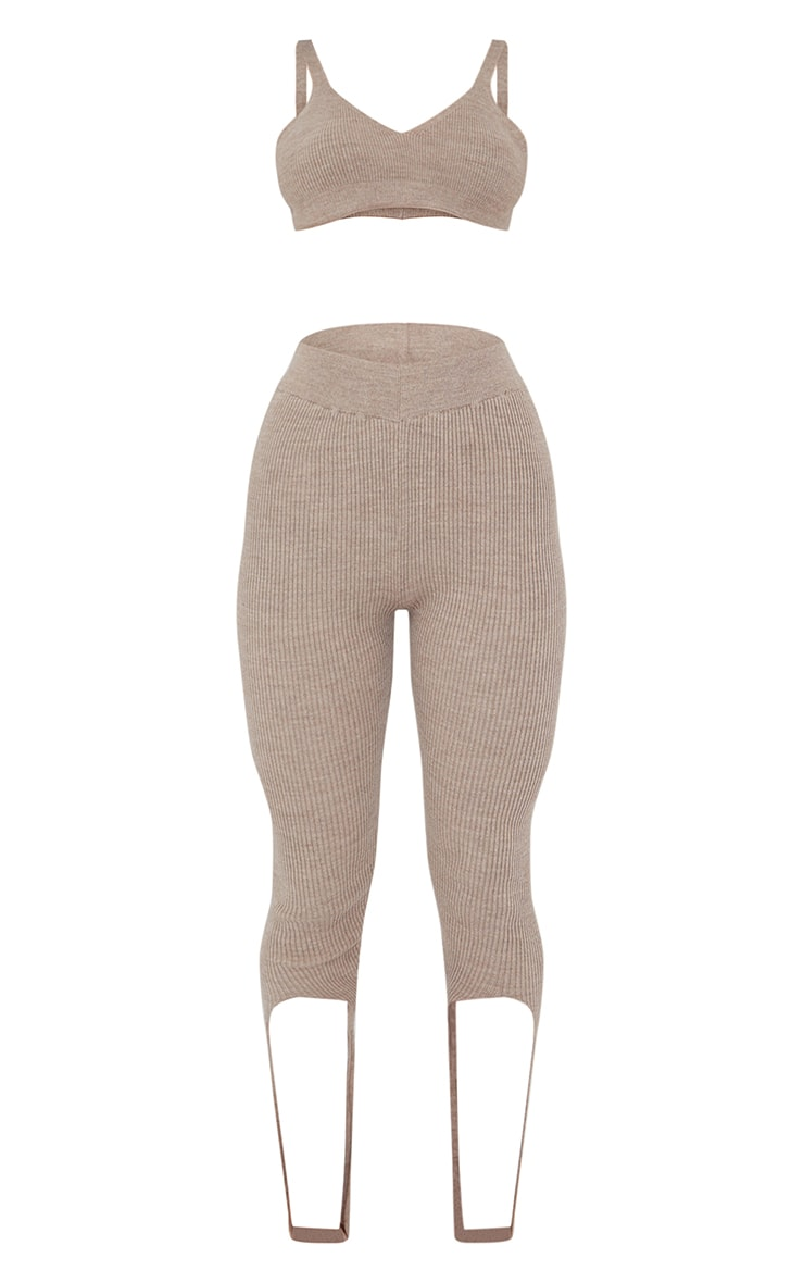 Oatmeal Ribbed Knitted Bralet And Stirrup Leggings Set 5