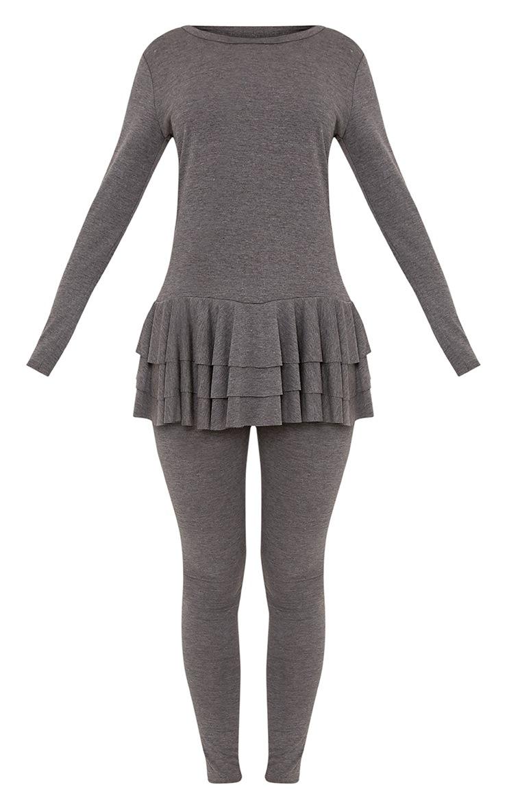 Cecilia Charcoal Ruffle Hem Top & Leggings Set 3