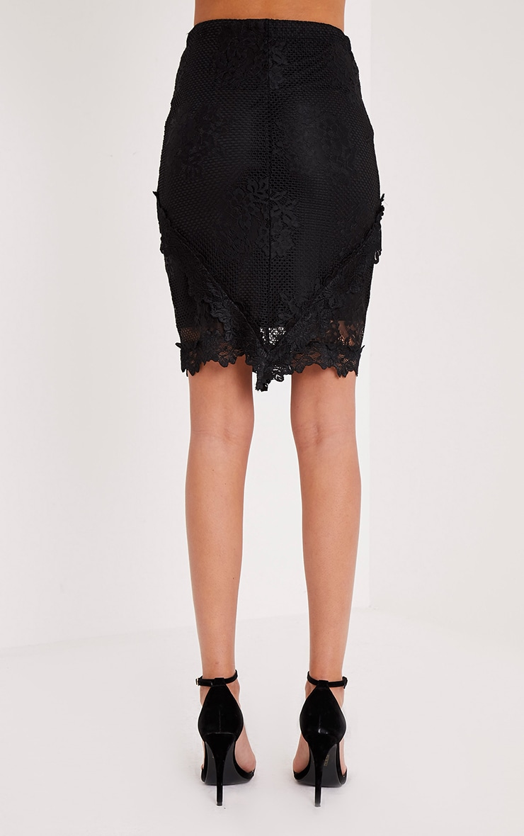 Doreanna Black Lace Frill Panelled Midi Skirt 5