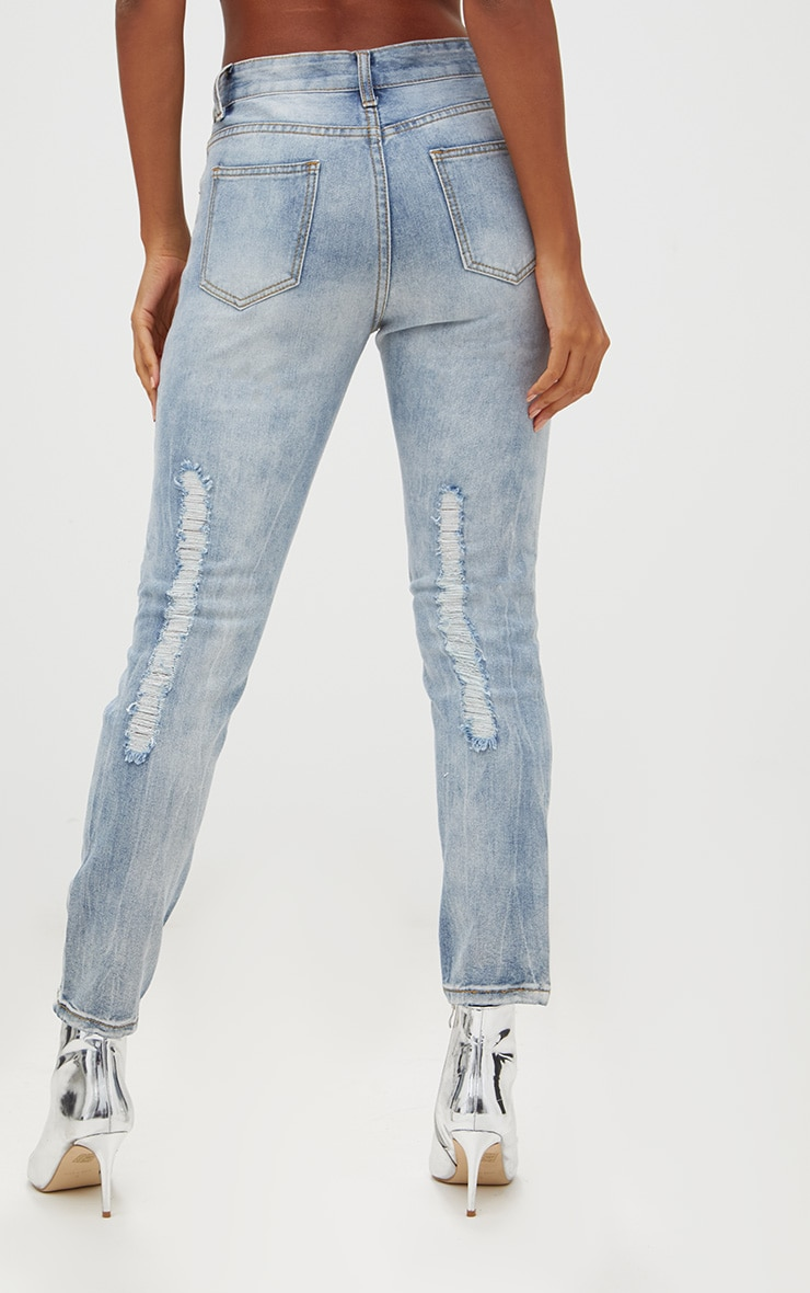 Light Wash Front & Back Distressed Rip Mom Jean 4
