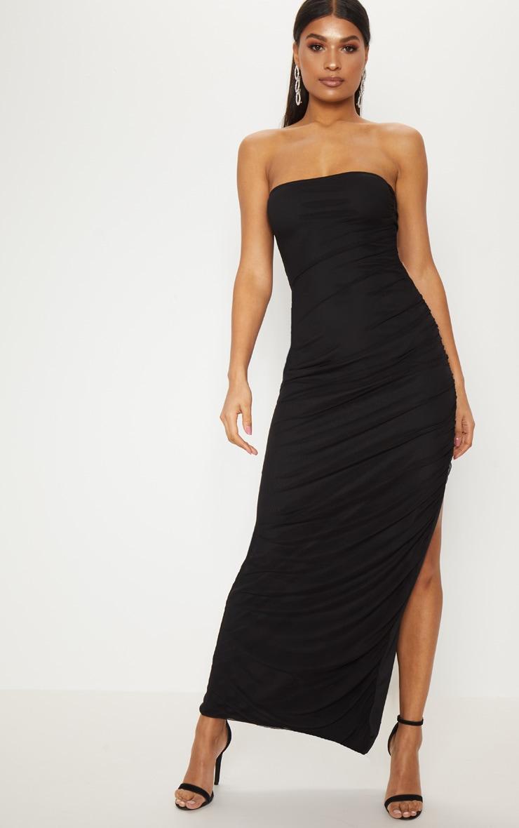3c551176a47 Black Ruched Mesh Bandeau Maxi Dress | PrettyLittleThing AUS