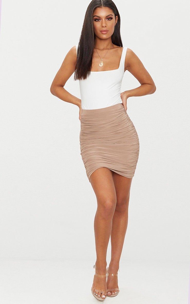 Sabina Taupe Ruched Layered Slinky Mini Skirt 5