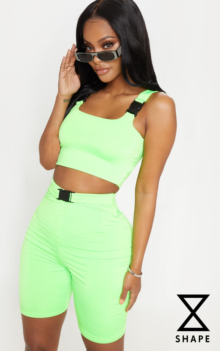 Shape Neon Lime Buckle Detail Cycle Short 1