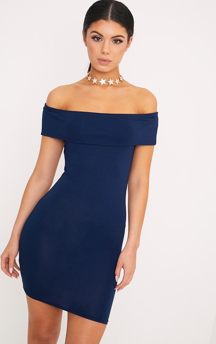 Bethany robe moulante à détail bardot bleu marine 1
