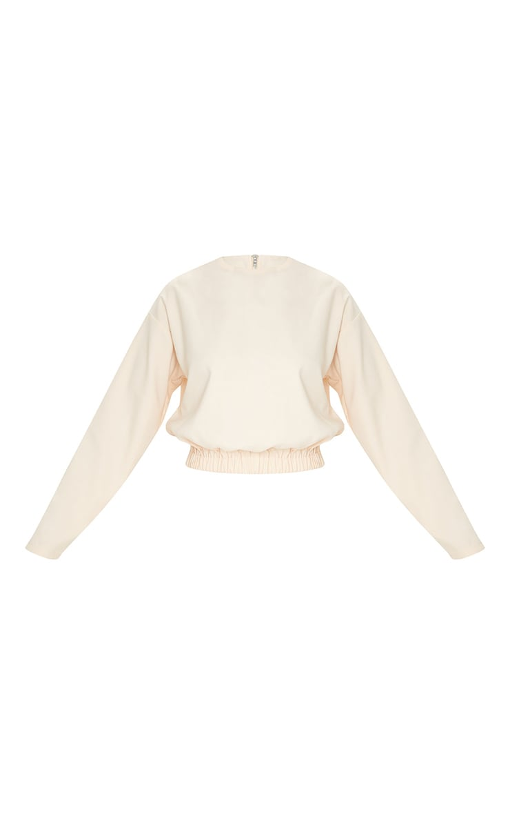 Cream Woven Elastic Hem Cropped Long Sleeve Top 5
