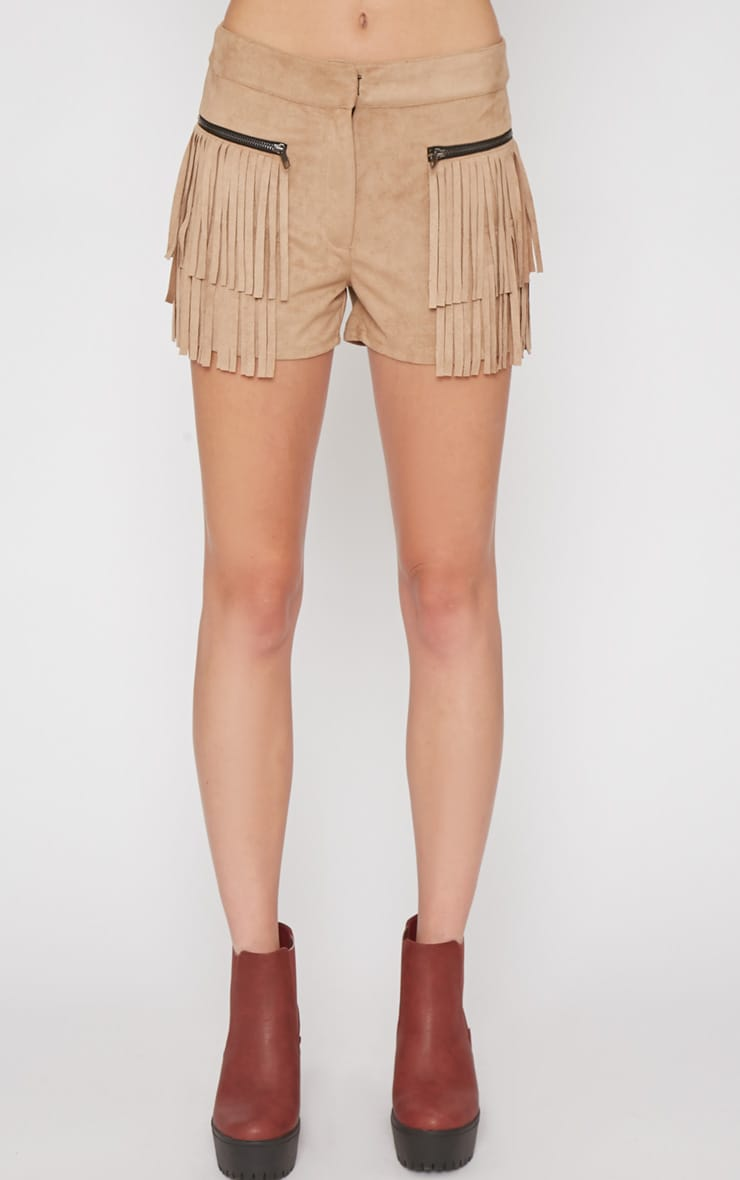 Elina Camel Fringed Short 5