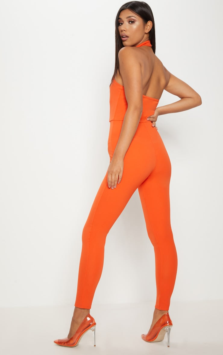 Bright Orange Scuba Neck Detail Jumpsuit 4