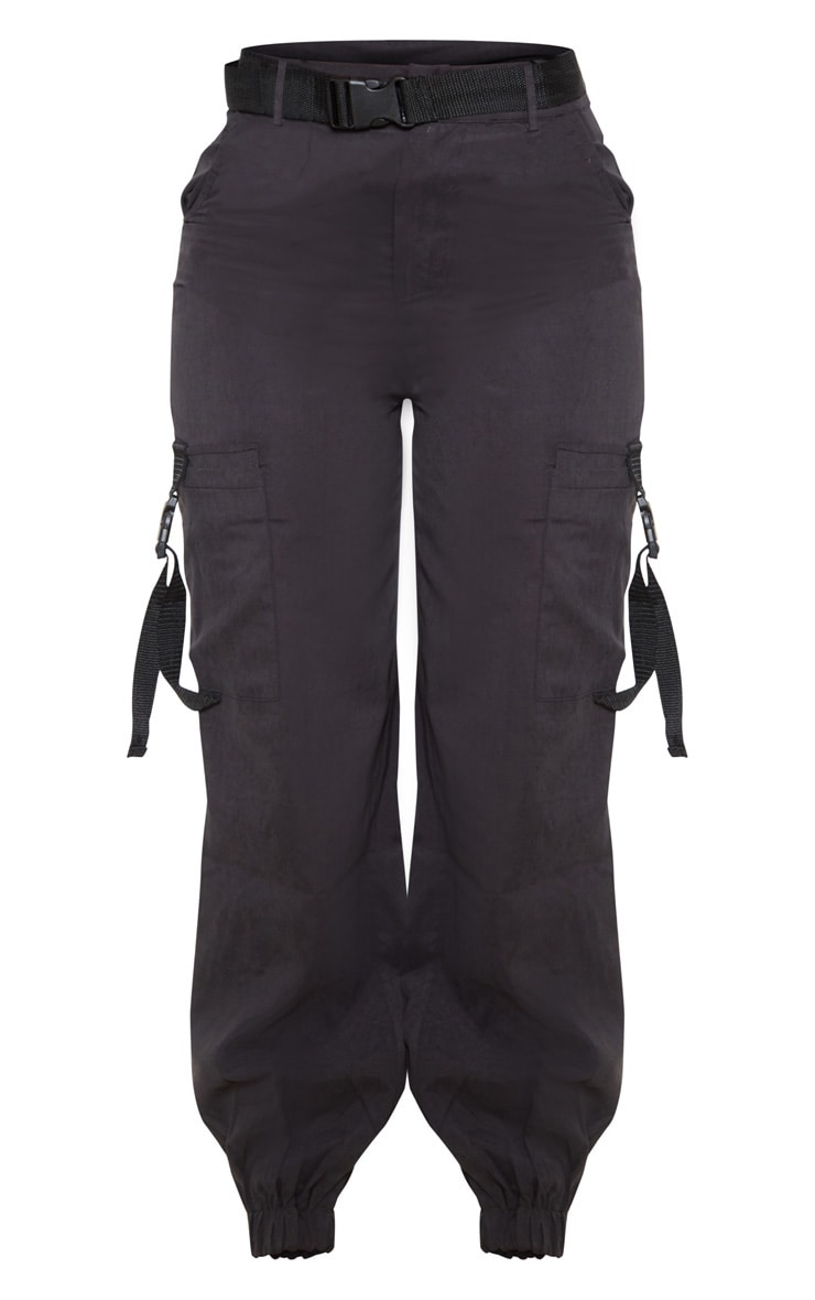 Black Buckle Detail Belted Cargo Trouser 3