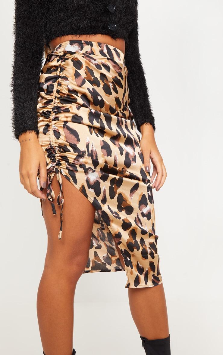Leopard Print Satin Printed Ruched Side Midi Skirt 5