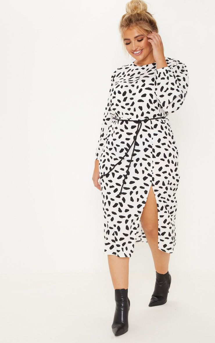 Plus White Tie Waist Dalmatian Print Midi Dress 1