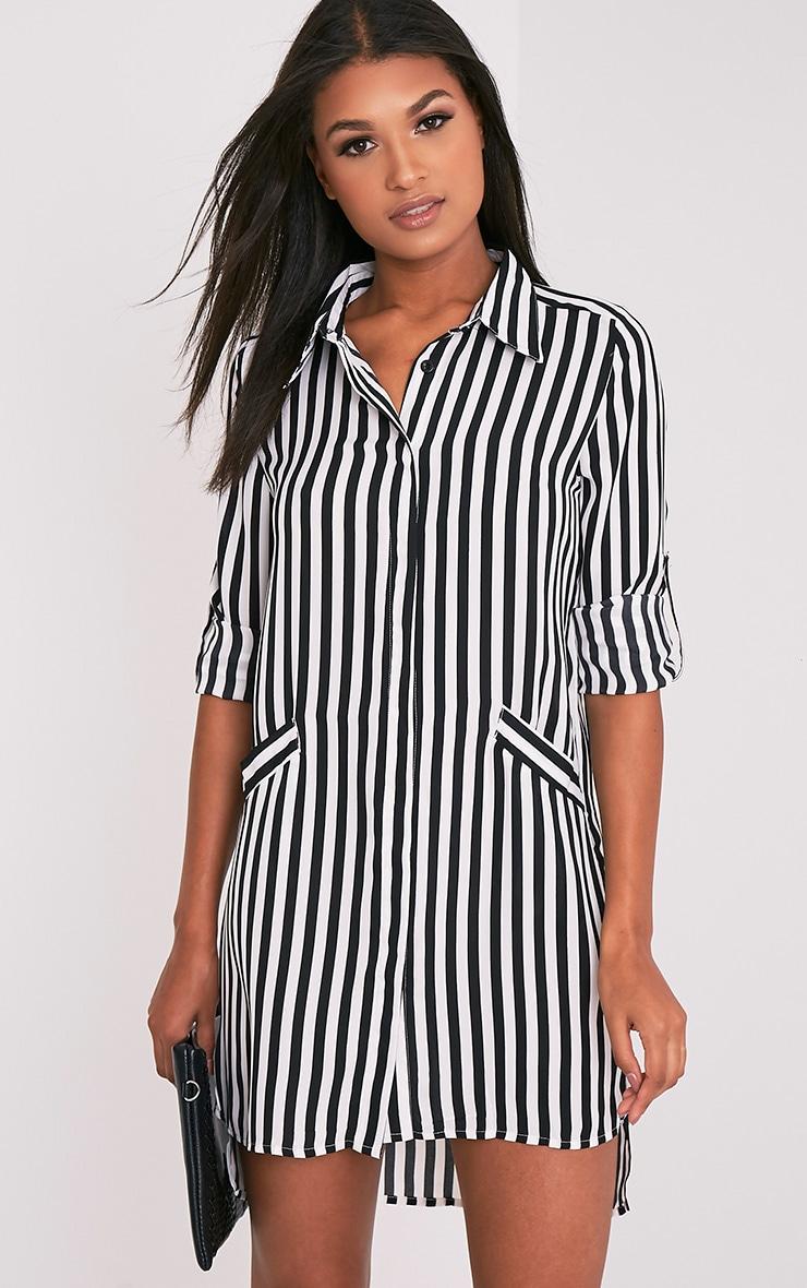 Jemia Monochrome Striped Shirt Dress 1