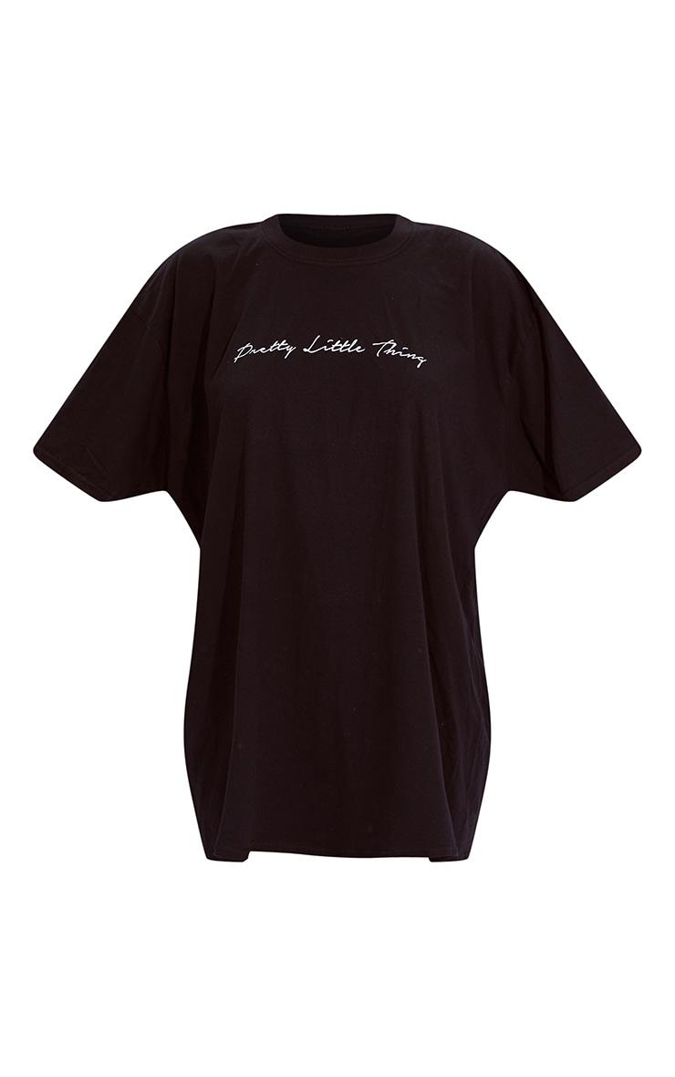 PRETTYLITTLETHING Black & White 2 Pack Slogan T Shirt Dresses 7