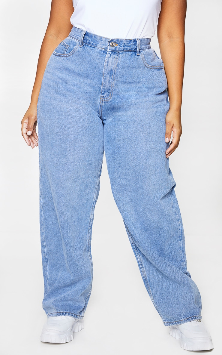 Plus Mid Blue Wash Extreme Bum Split Baggy Boyfriend Jeans 2