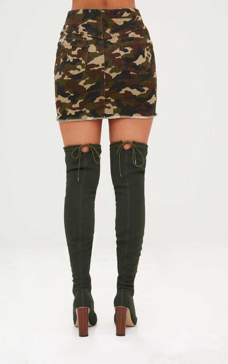 Khaki Camouflage Denim Mini Skirt 4