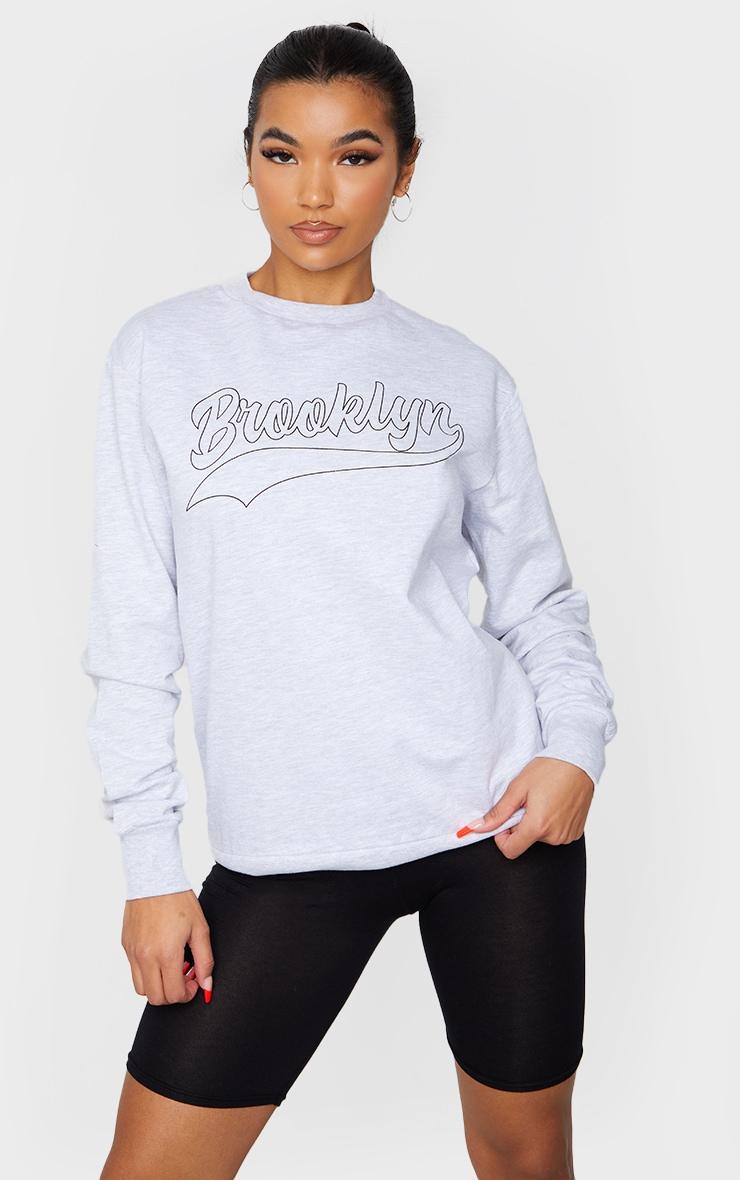 Grey Brooklyn Slogan Sweatshirt 1