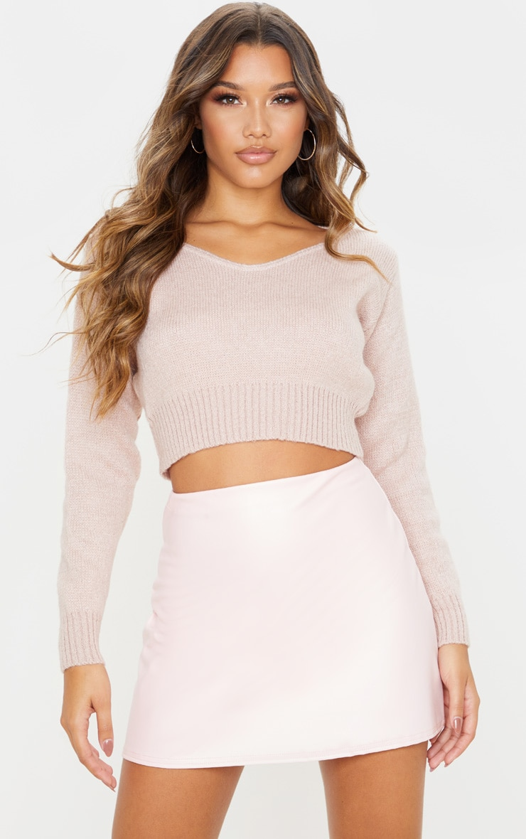 Rose Pink Faux Leather A Line Skirt 1