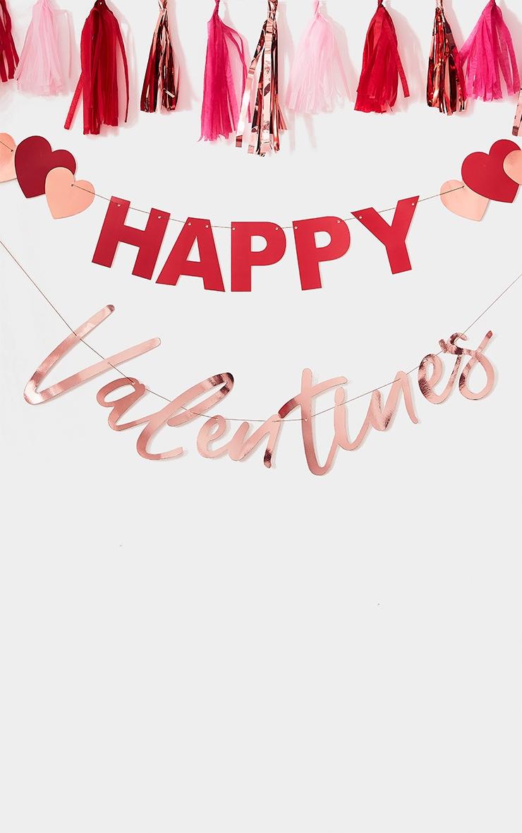 Ginger Ray - Guirlande or rose à coeurs et slogan Happy Valentine's 1