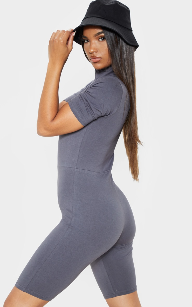 Charcoal Blue High Neck Cap Sleeve Unitard 2