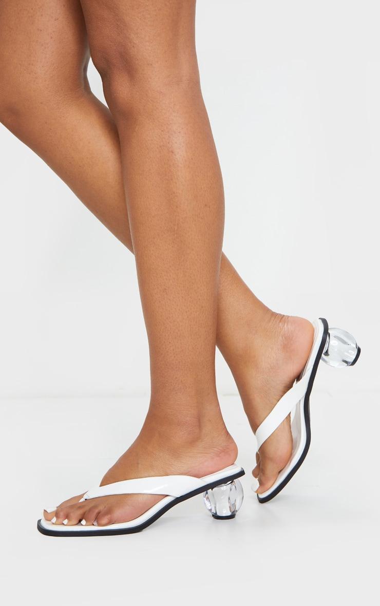 White Bubble Heel Toe Thong Heeled Mules 1