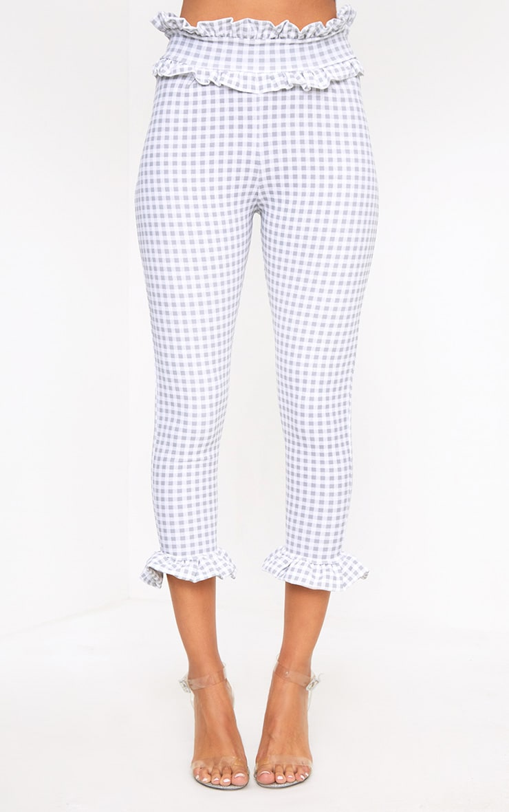 Keren Grey Gingham Frill Trim Trousers 2