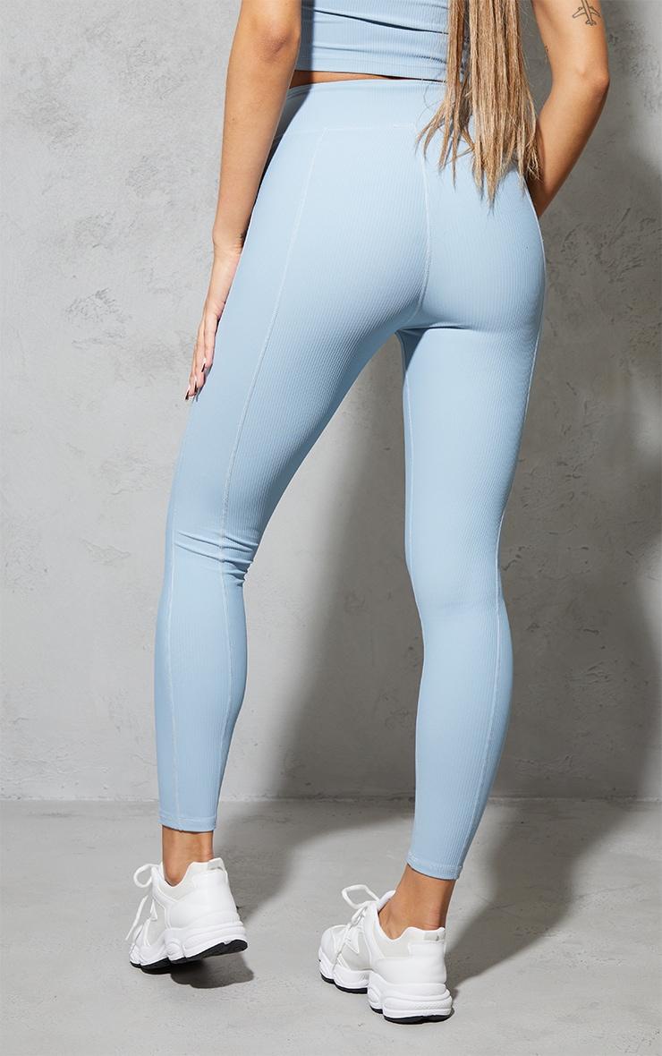 Dusky Blue Ribbed Textured Seam Detail Gym Leggings 3