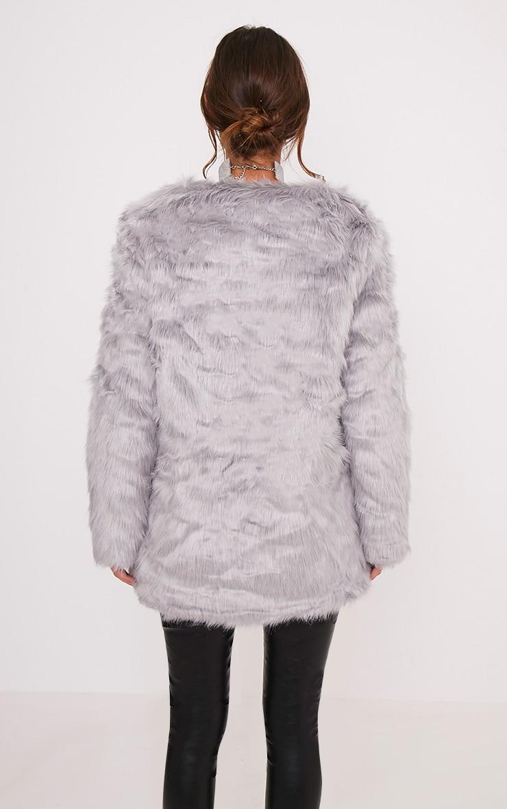 Florencia manteau en fausse fourrure gris 2