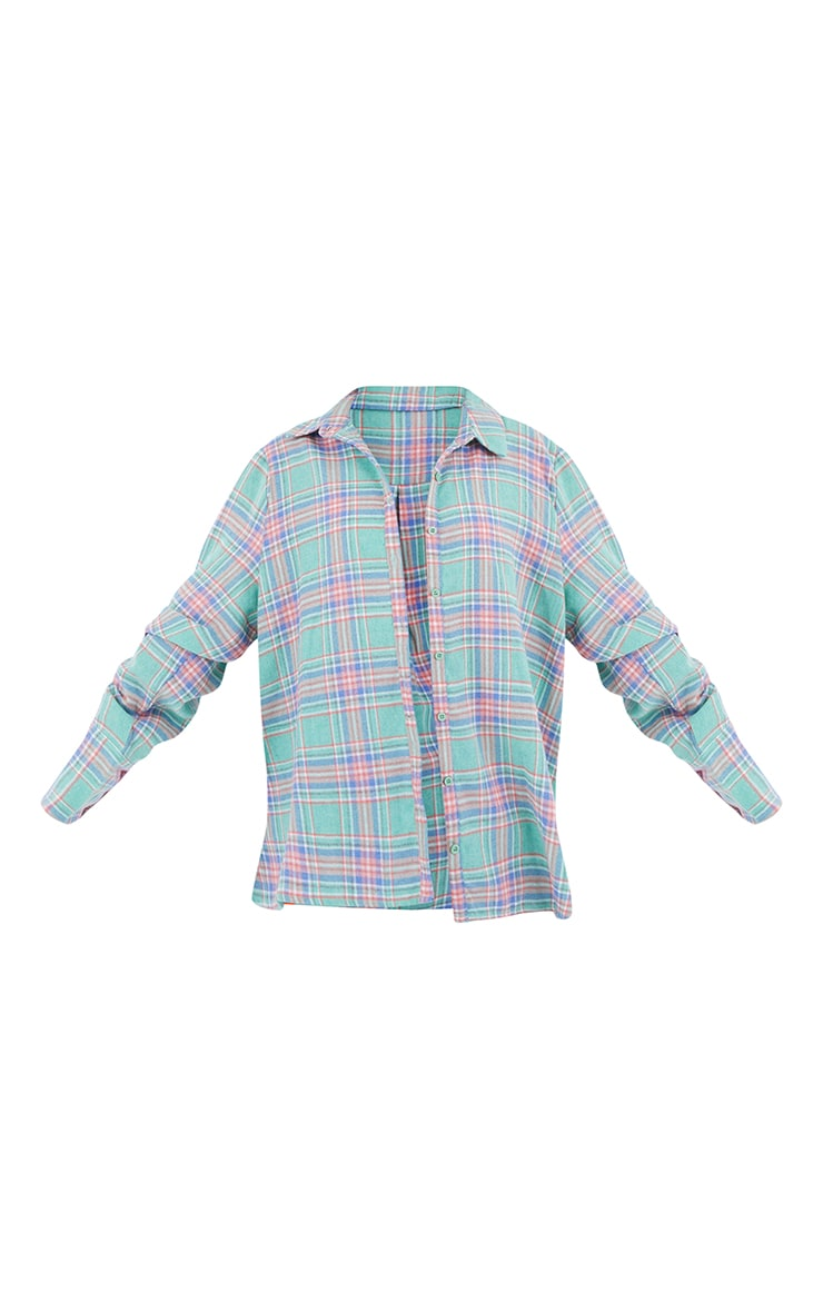 Mint Oversized Checked Shirt 5