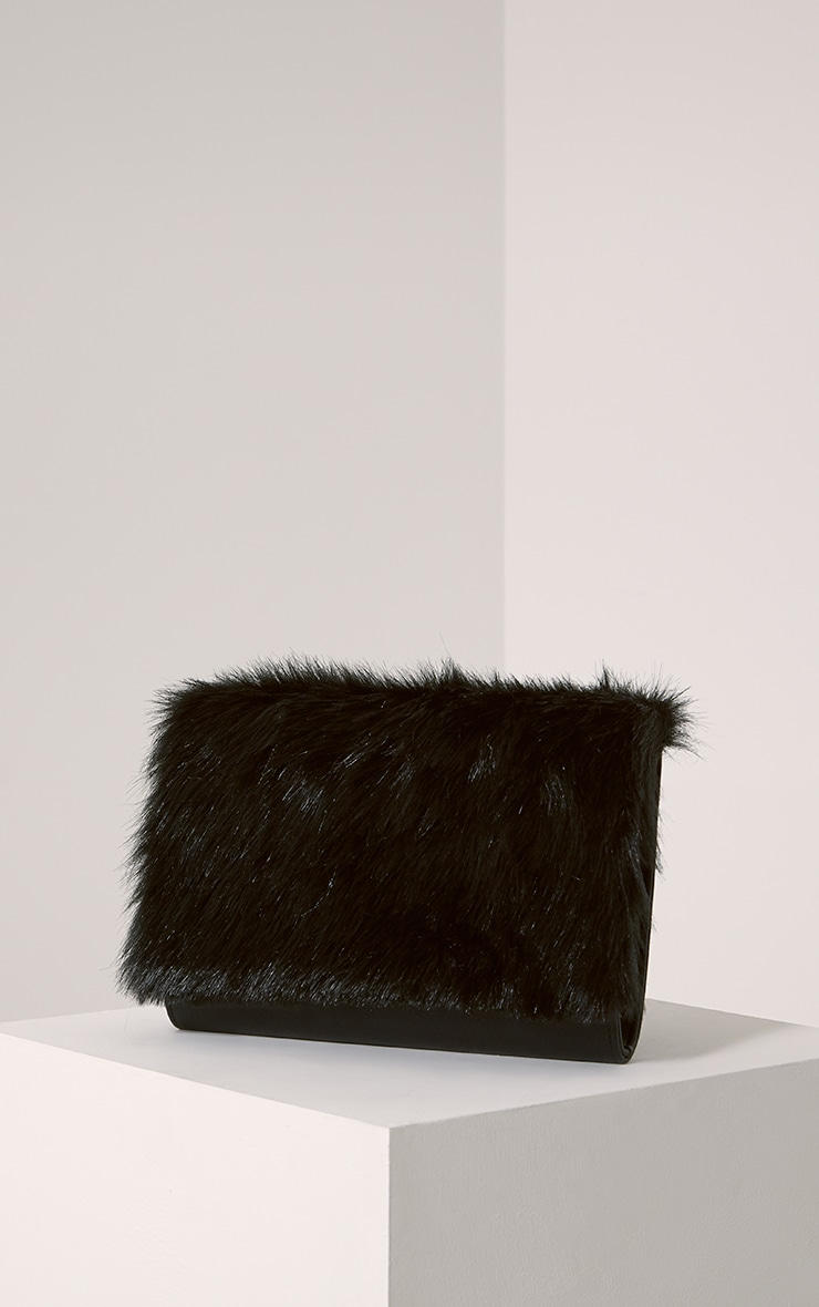 Dante Black Faux Fur Clutch Bag 1