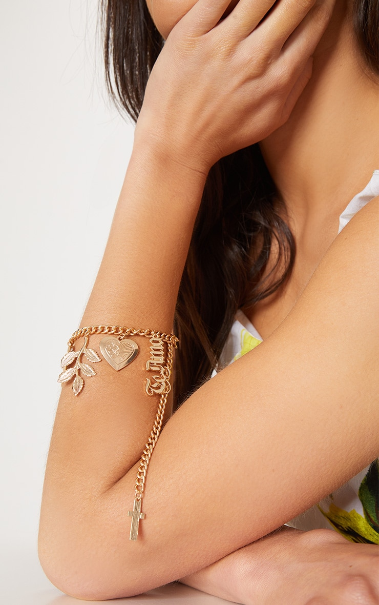 Gold Te Amo Heart Locket Pendant Bracelet 2