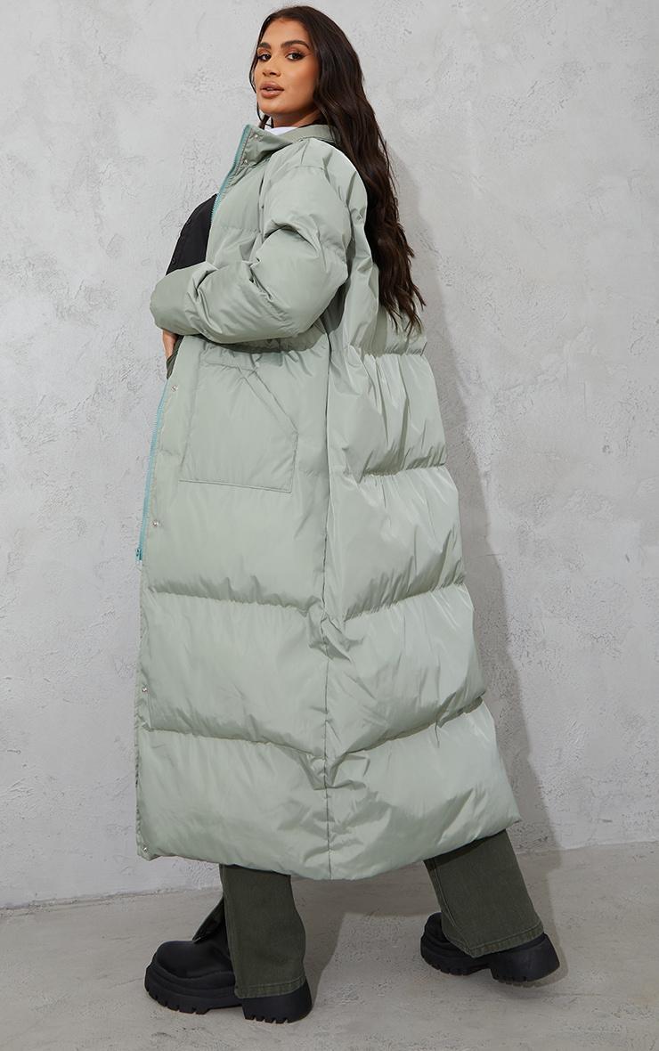 Tall Sage Green Tall Maxi Puffer Coat 2