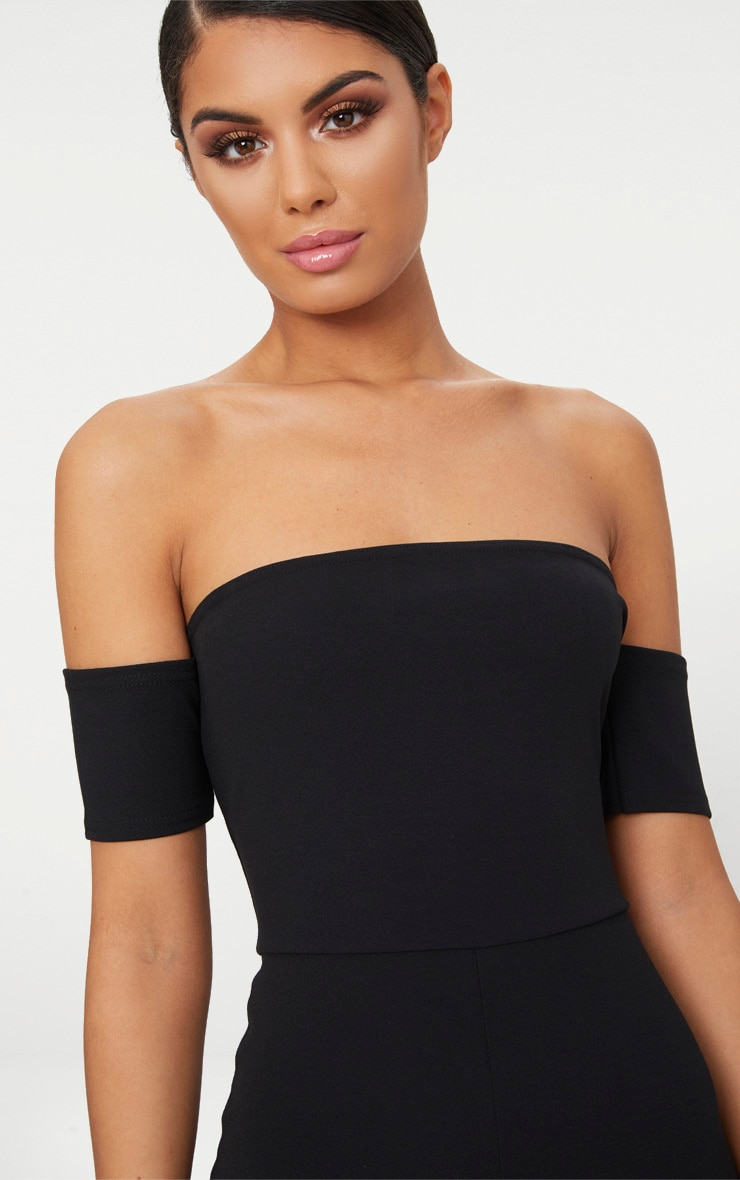 Black Bardot Short Sleeve Jumpsuit 4