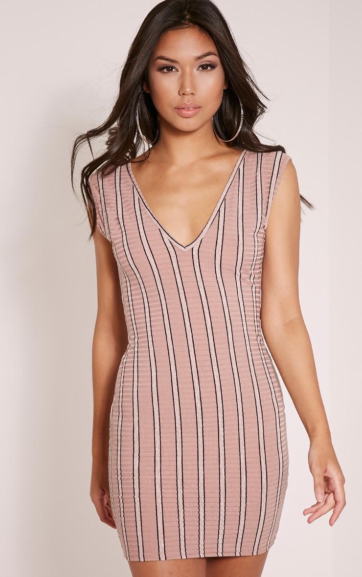 Allanah Pink Stripe Plunge Bodycon Dress 1