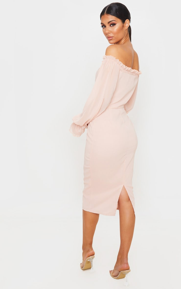 Dusty Pink Bardot Lace Up Chiffon Midi Dress 2