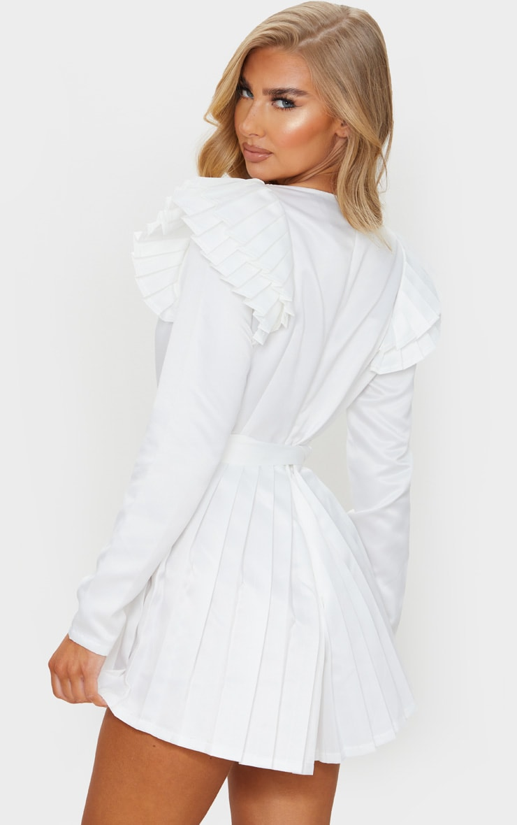 White Bonded Satin Plunge Pleated Detail Romper 2