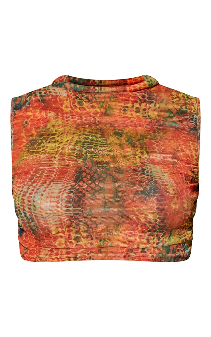 Orange  Abstract Snake Printed Mesh Sheer High Neck Ruched Crop Top 5