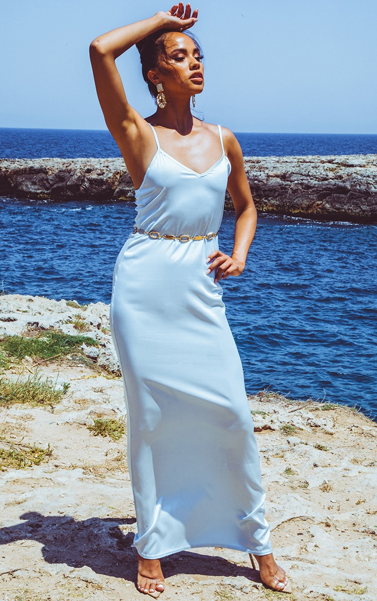 Baby Blue Satin V Neck Maxi Dress