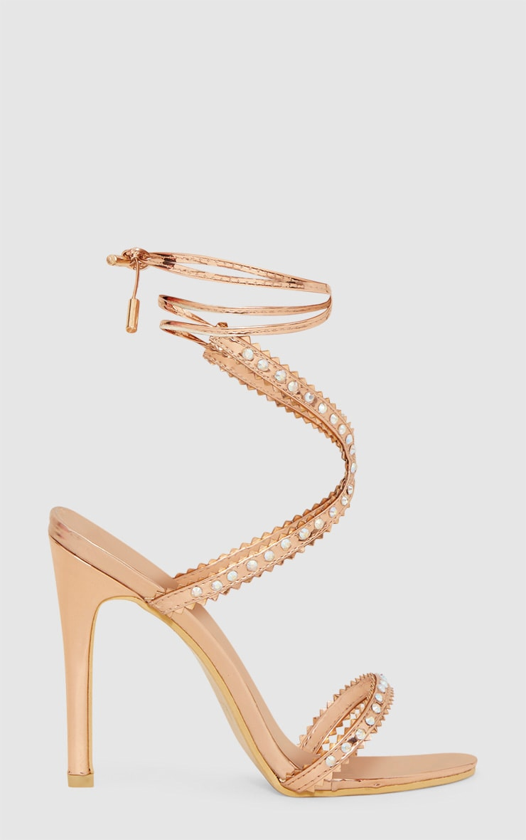 Rose Gold Diamante Cross Front Sandal 3