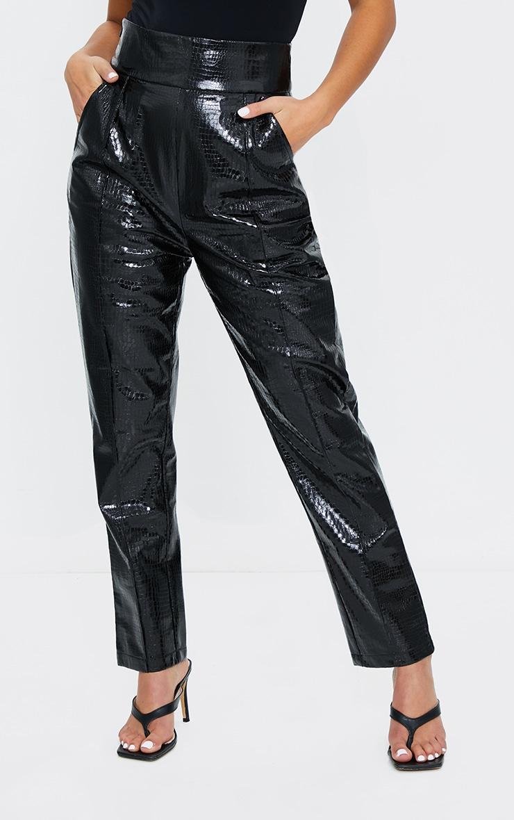 Petite Black Croc PU Straight Leg Pants 2