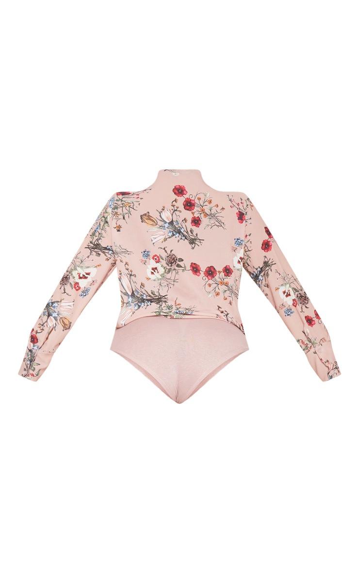 Plus Pink Floral Wrap Bodysuit 4