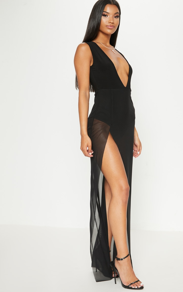 Black Sleeveless Plunge Mesh Split Leg Maxi Dress Pretty Little Thing Finishline Cheap Price Outlet Best Store To Get Best Place To Buy Online Store Sale Online 9TlDndEG
