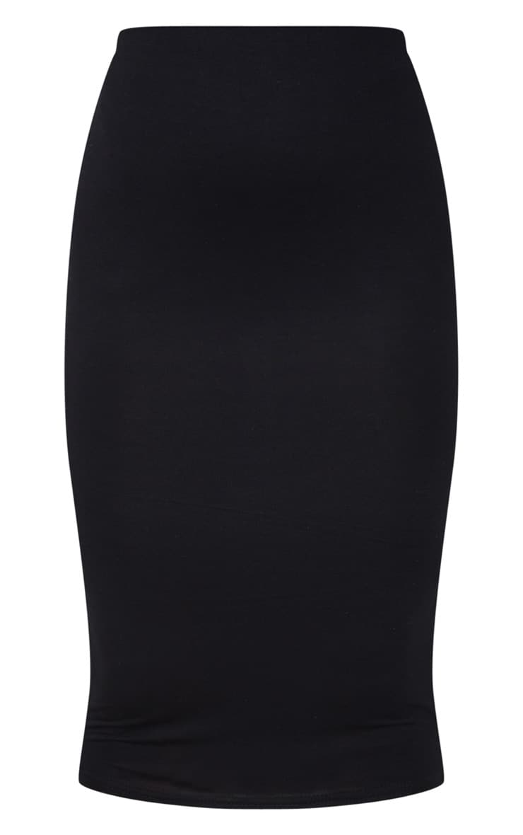 Petite Black Jersey Midi Skirt 5